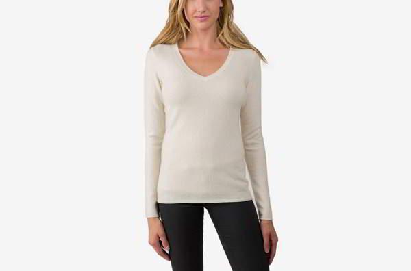 JENNIE LIU Women's 100% Pure Cashmere Long Sleeve Pullover V Throat Sweater