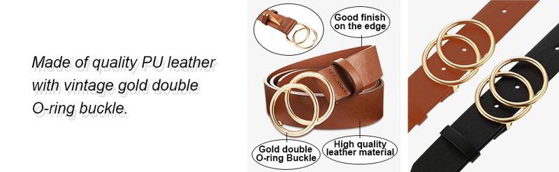 Syhood 2 Pieces Women Leather Belt 2