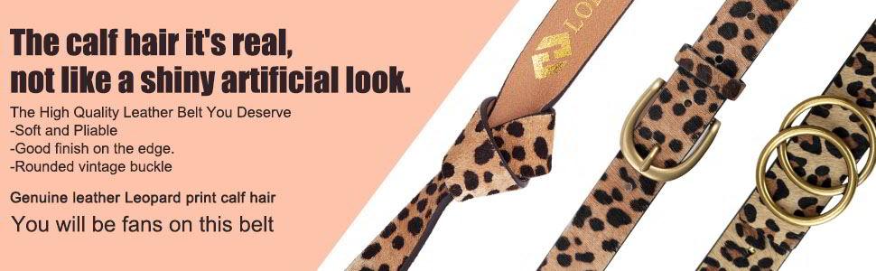 Womens Leopard Print Leather Belt