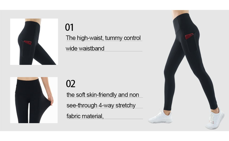 THE GYM PEOPLE Thick High Waist Yoga Pants with Pockets 1