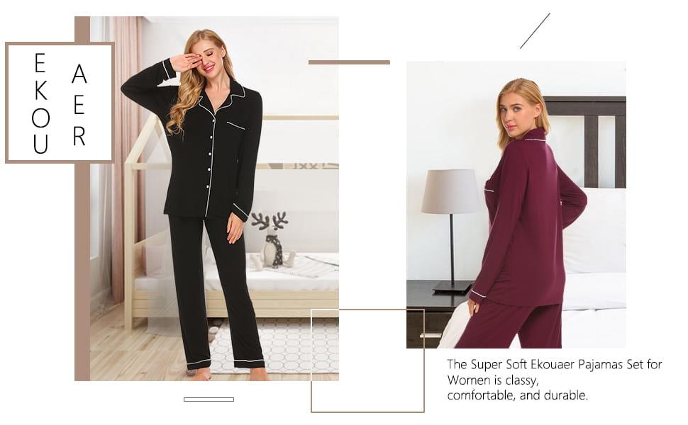 Ekouaer Pajamas Set Womens Long Sleeve Sleepwear