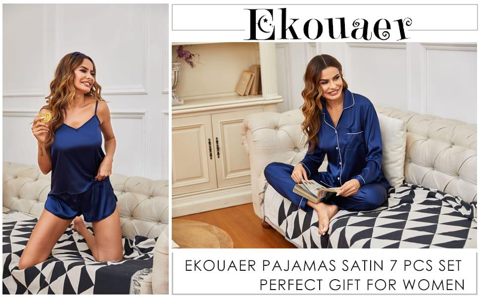 Ekouaer Silk Womens Pajamas Gift Set