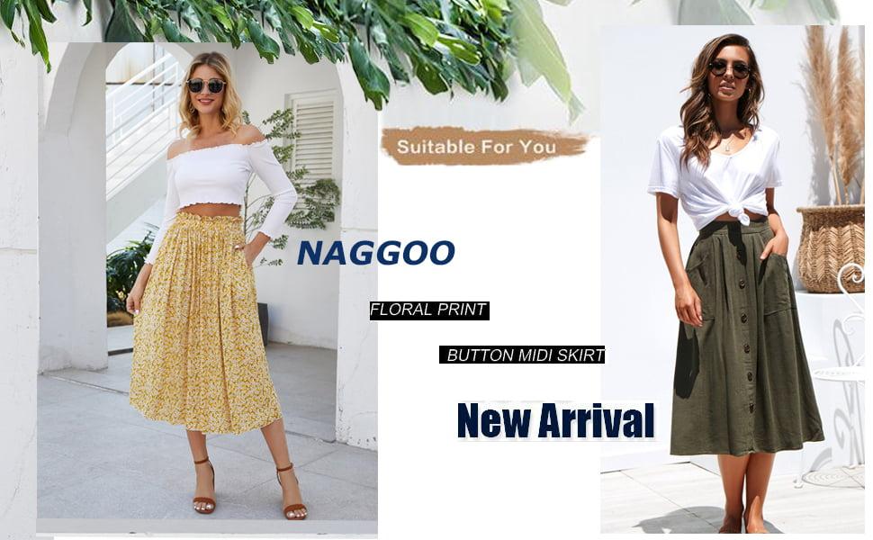 Naggoo Womens Polka Dot Midi Skirts A Line