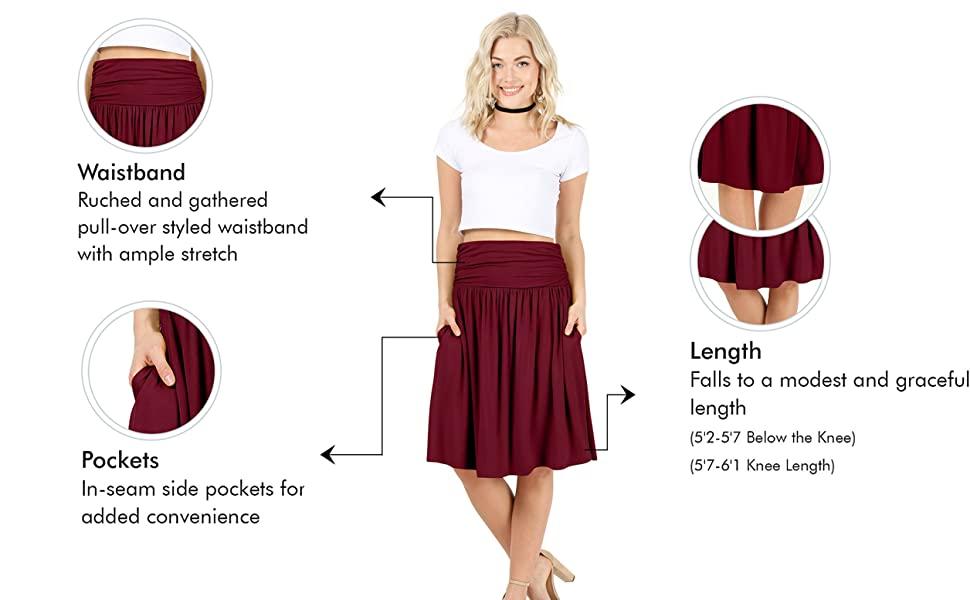 Simlu Regular and Plus Size Midi women's skirts