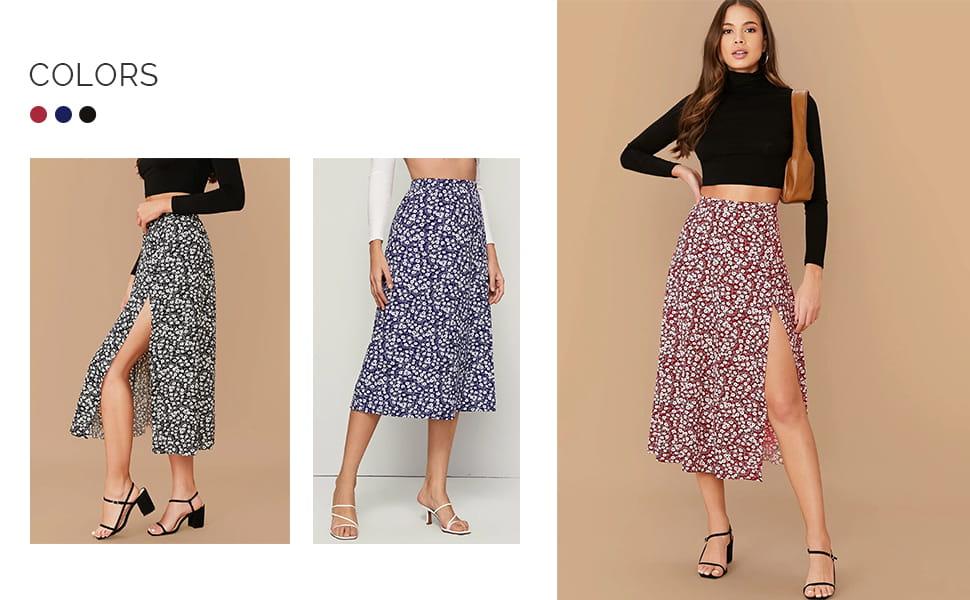 Verdusa Womens Sexy Floral Split Skirt