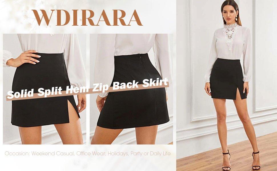 WINRAR Womens Summer Solid Split Mini Skirt