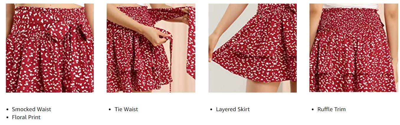 Women's Floral Smocked Ruffle Mini Skirt.