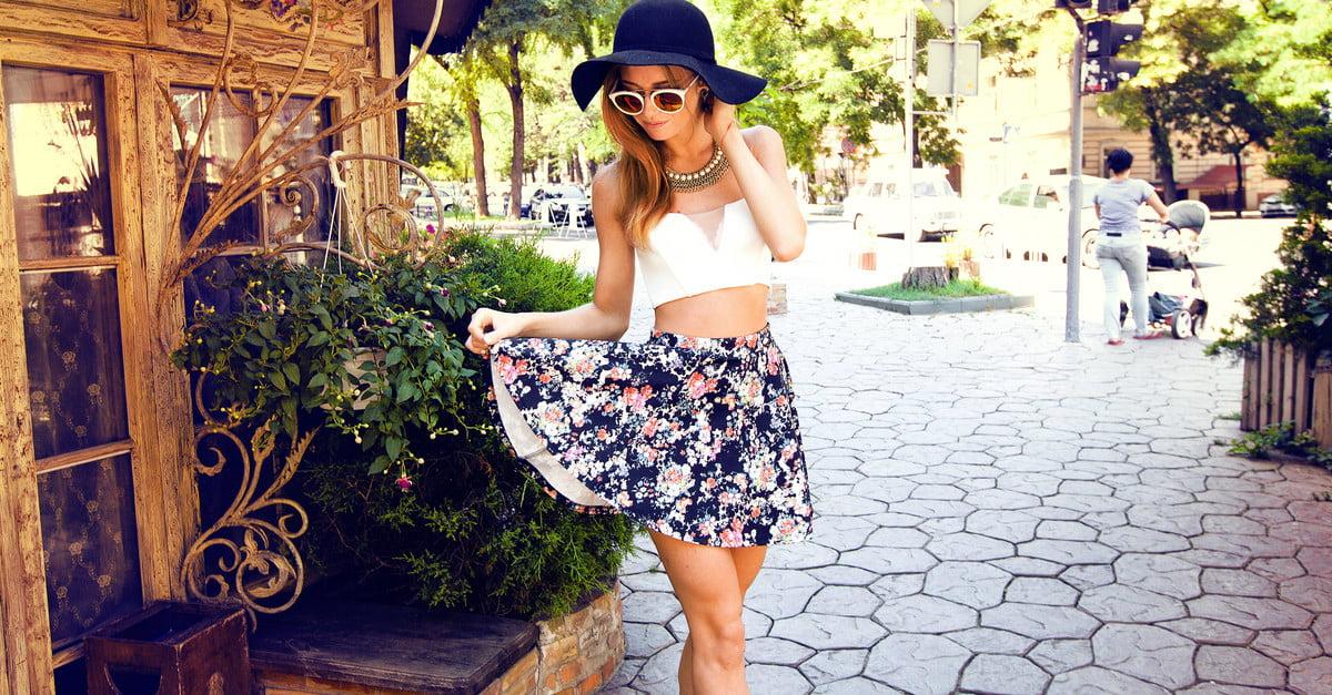 Women's smocked miniskirt