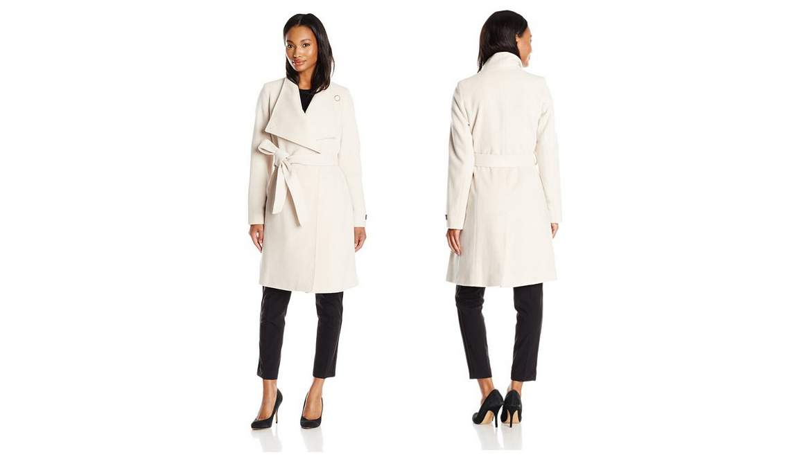 Womens Long Sleeve Short Puffer Coat with Wrap