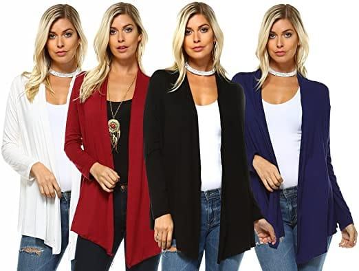 Womens Premium Viscose Blend Lightweight Long Sleeve Open Front Cardigan
