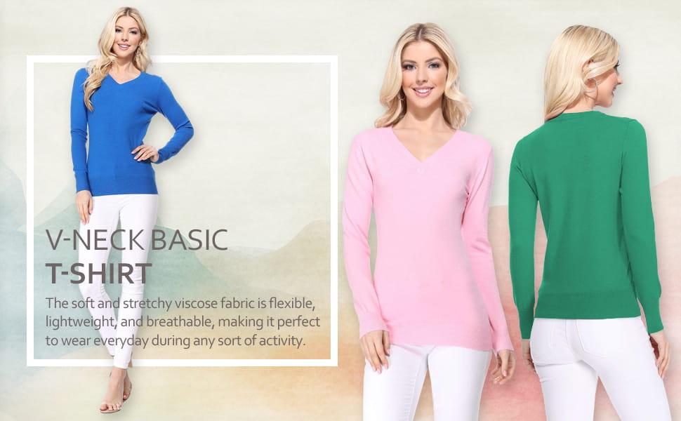 Womens Premium Viscose Blend Long Sleeve V Neck Sweater