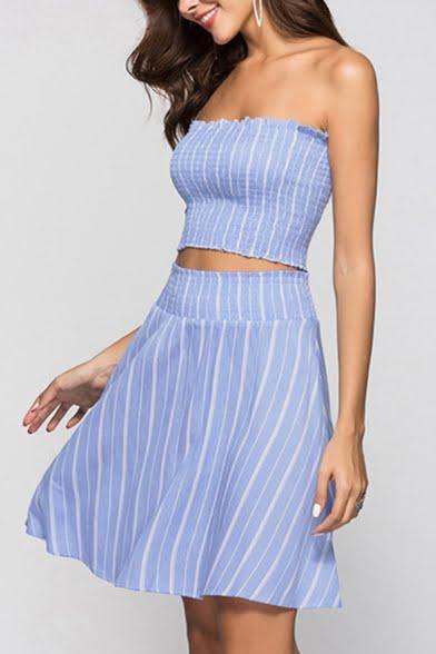 women striped printed smocked waist skirt