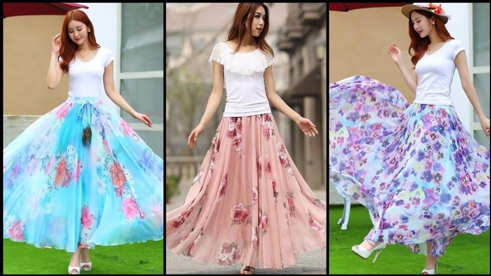 Smocked Long Skirt