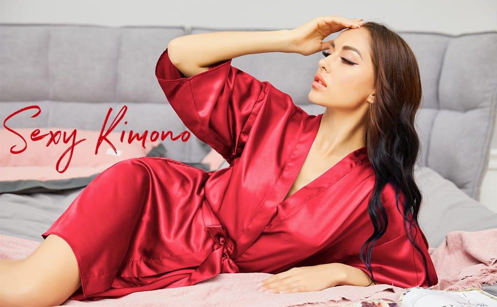Avidlove Women Satin Kimono Robes Silk Short Bridesmaid Robe Lingerie Dressing Gown S XXL