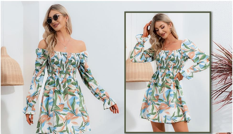 EXLURA Long Sleeve Ruffle Swing Short Dress