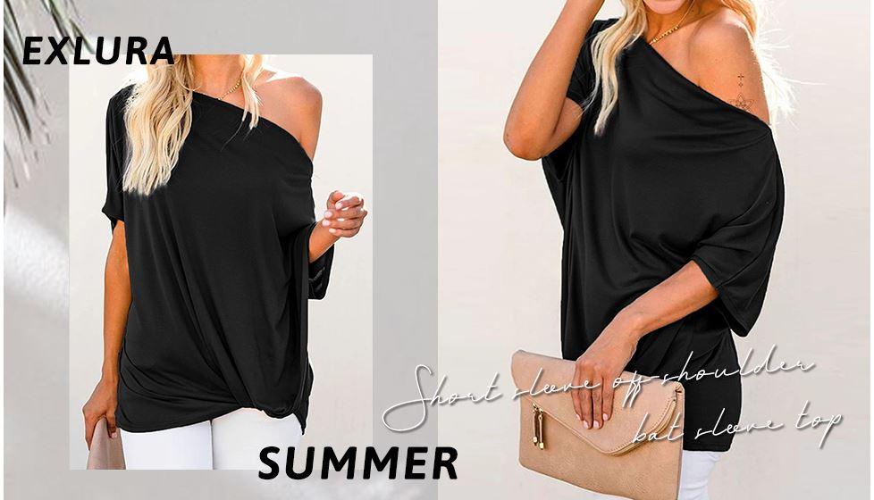 EXLURA Women's Summer Casual Contrast Sequins T Shirts Short Ruffle Sleeve Tee Round Neck Blouse Tops