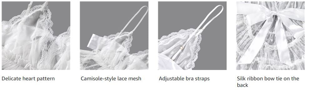 Littleforbig Women lace Babydoll Chemise Halter V Neck Sleepwear and Thong Lingerie Set Romantic